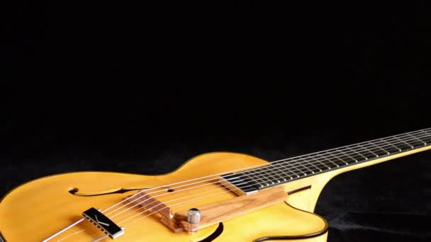 Classic Electric Guitar Jazz Rotating In Horizontal In Close Up