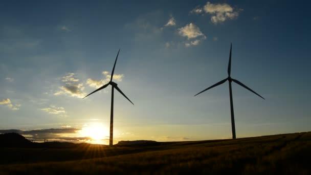 Turbine di vento in movimento al tramonto