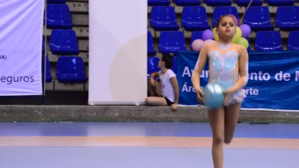 MALAGA/MALAGA/SPAIN - 05 16 2015: Young gymnast on rhythmic gymnastics tournament