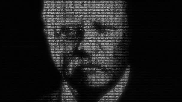 Animation of face of american president Theodore Roosevelt made with numbers running