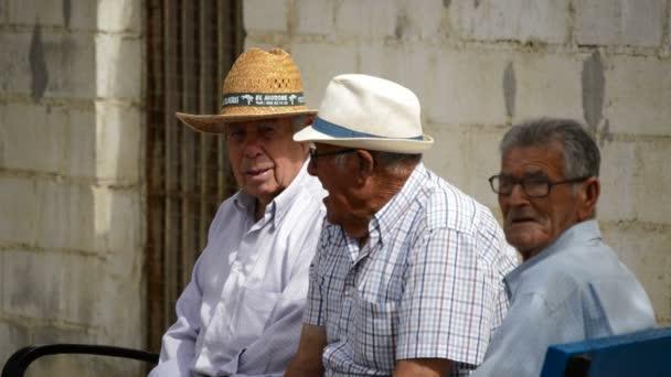 Skupina středomořské starých mužů hovoří ve veřejném parku ve Španělsku