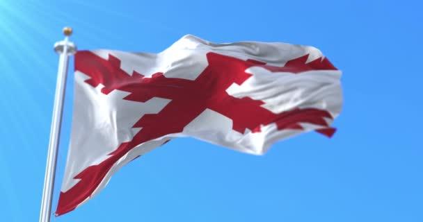 A burgundiai kereszt zászlaja, ami a Hispanismo-t jelképezi, lassan. Hurok