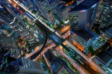 Birds eye view of a modern buildings at nigh