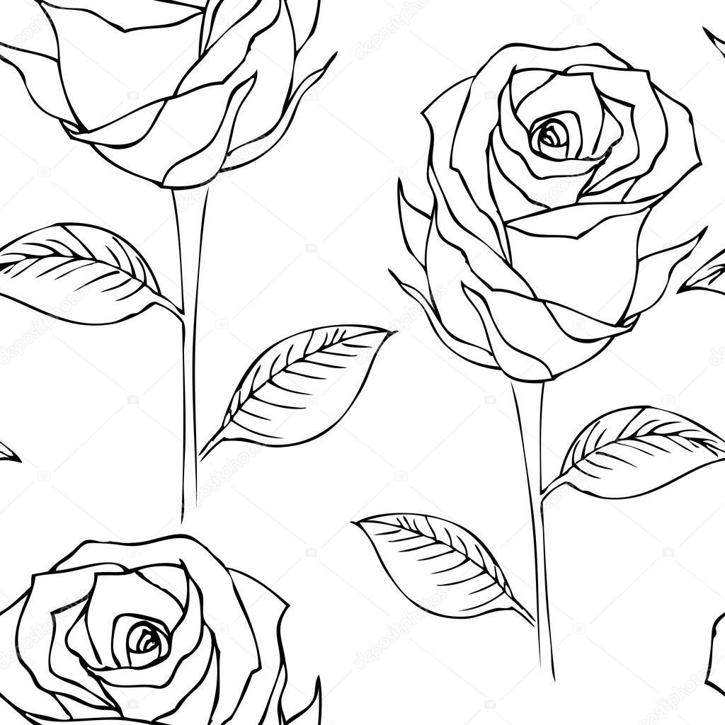 Imágenes Rosas Blanco Y Negro Sin Fisuras Patrón Rosas Blanco Y