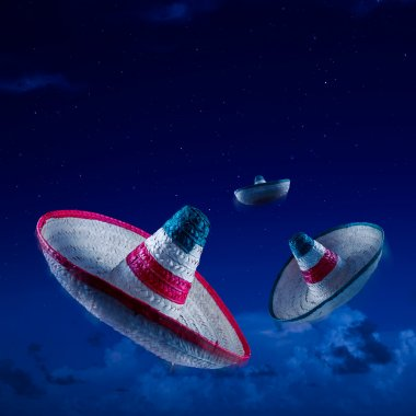 Mexican hats or sombreros in the sky