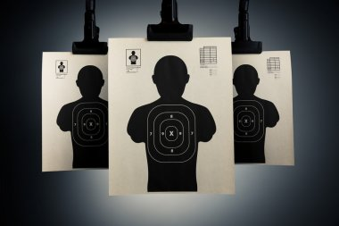 Shooting targets on a grey background