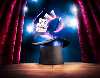 Magician hat on a stage