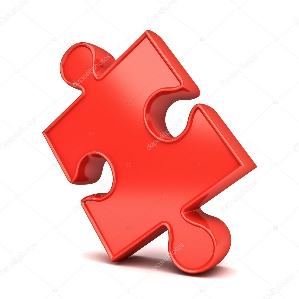 red jigsaw puzzle piece isolated on white background with