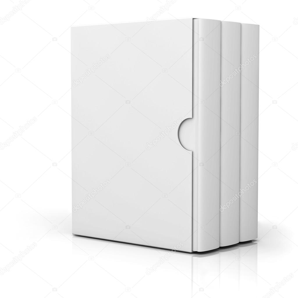 Three books with blank box cover standing isolated on white background