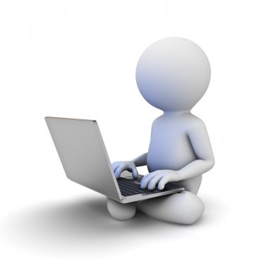 3d man sitting on white ground and using laptop computer on his lap isolated over white