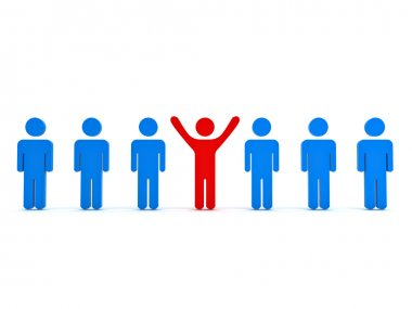 Stand out from the crowd and different concept , Red man standing with arms wide open with other blue people over white