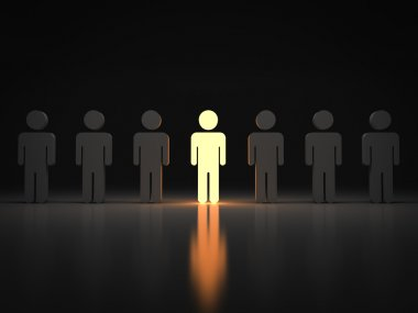 Stand out from the crowd and different concept , One light man standing with arms wide open with other