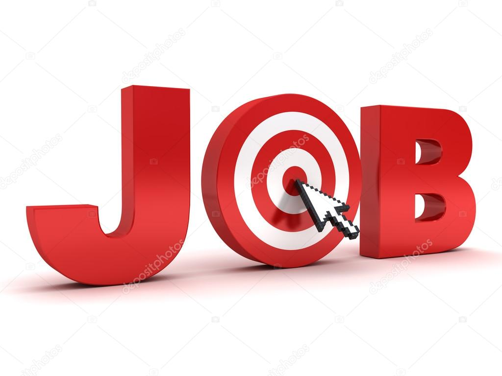 Target Job Search Concept Red Job Word With Arrow Cursor Mouse Clicking In The Center Of Dart Board Isolated On White Background Stock Photo C 3dconceptsman 84187954