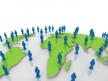 Social network people on green world globe map over white