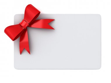 Blank gift card with red ribbons and bow concept