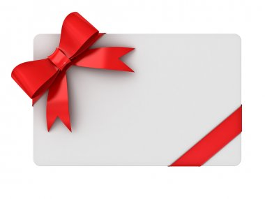 Blank gift card with red ribbons and bow