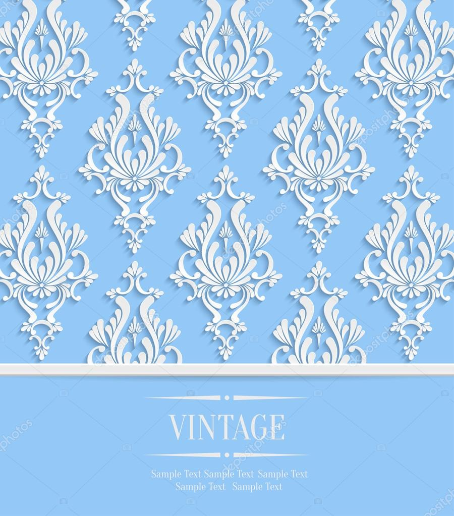 Vector blue vintage invitation card with 3d floral damask pattern vector blue vintage invitation card with 3d floral damask pattern stock vector stopboris Images