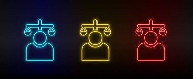 Neon icon set balance, user. Set of red, blue, yellow neon vector icon on dark transparent background icon