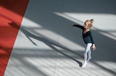 Girl practicing rhythmic gymnastics in  gym