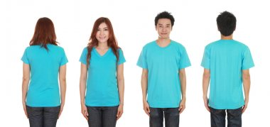 man and woman with blank t-shirt