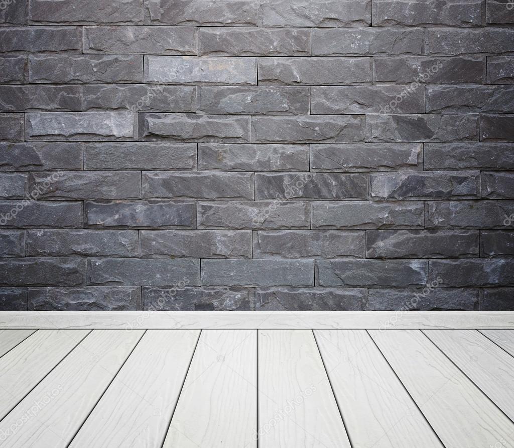 Sala interna con pietra mattoni piastrelle muro e legno pavimento backgro foto stock - Piastrelle muro pietra ...