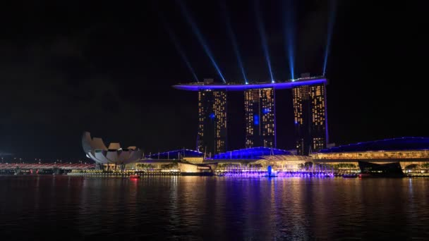 SINGAPORE - AUG 19, 2017 : Time-lapse of Singapore city at night with beautiful SPECTRA  LIGHT  WATER SHOW in marina bay water front