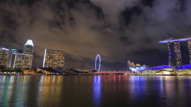 SINGAPORE - AUG 19, 2017 : Time-lapse of marina bay at night, urban landscape at Singapore