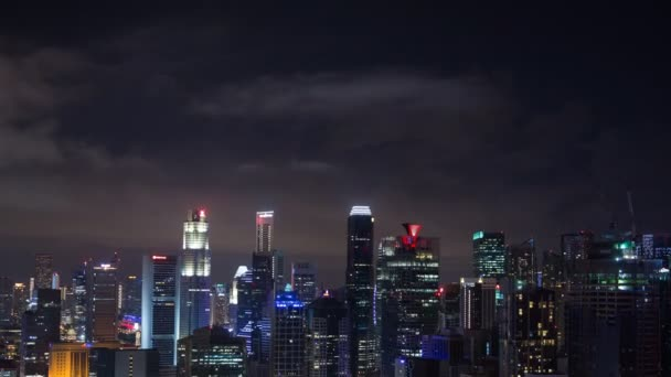 4k Time-lapse of cityscape view of Singapore city at night
