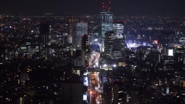 Aerial view of the Metropolitan Expressway no.3 Shibuya Line and city, kilátás Roppongi hegyek Mori Tower, Tokió, Japán