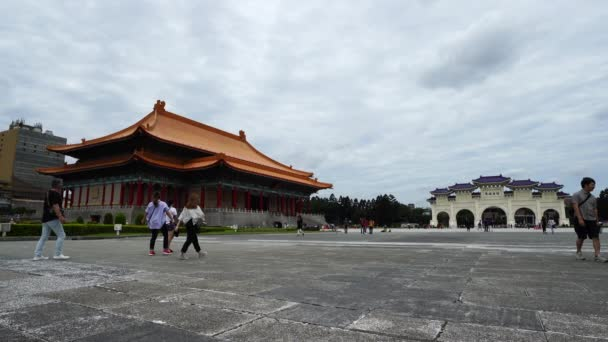 Taipei, Taiwan- 8 June, 2019: National Theater Hall and Liberty Square main gate of Chiang Kai-Shek Memorial Hall in Taipei, Taiwan. the famous landmark with popular travel of tourists visiting Taiwan.