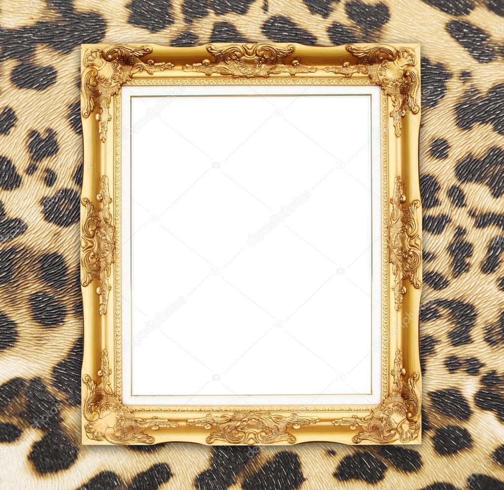 leere goldener Rahmen mit Leopard Textur — Stockfoto © geargodz ...