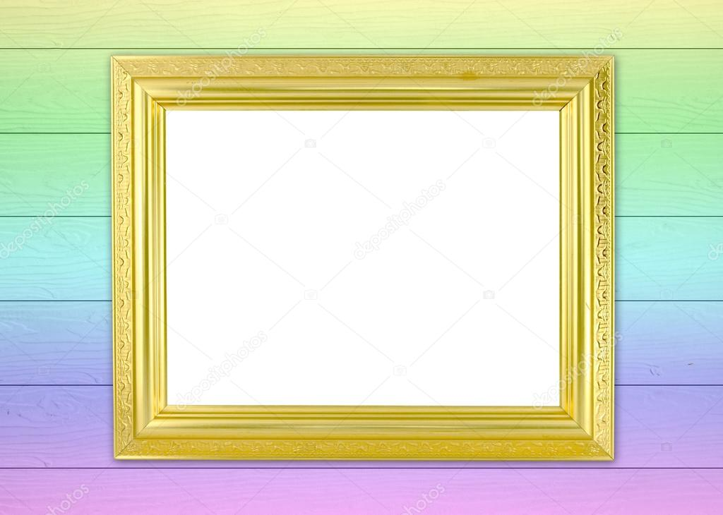 blank golden frame on wood wall background — Stock Photo © geargodz ...