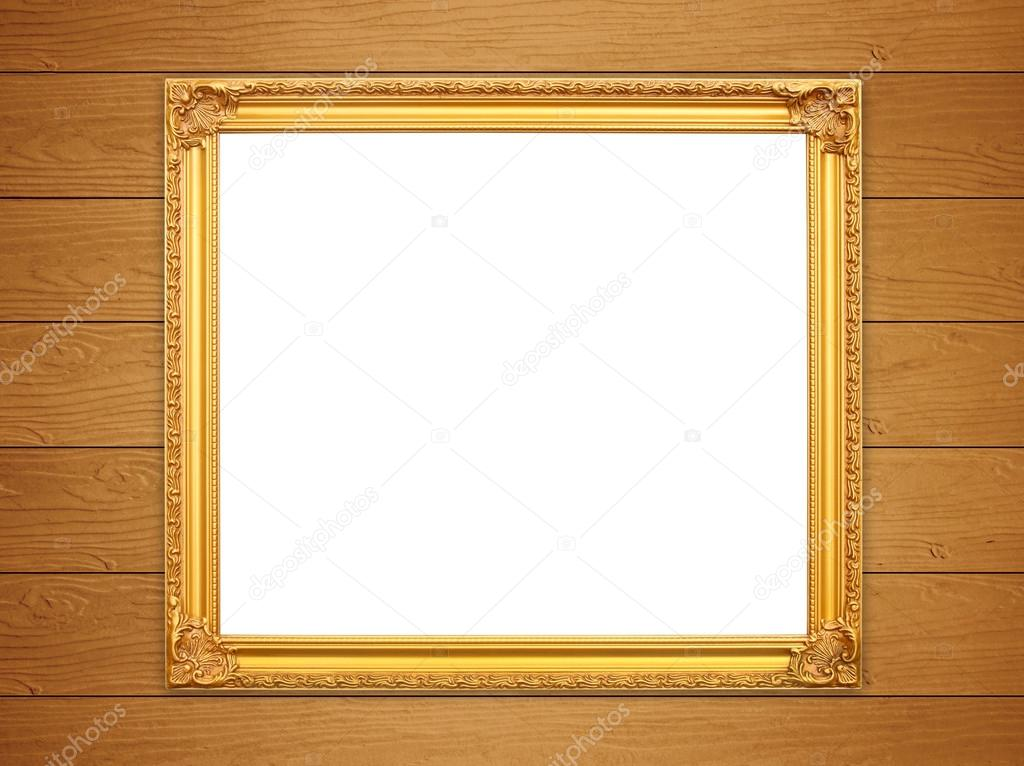 Parete Doro : Cornice d oro vuota sulla parete in legno u foto stock geargodz