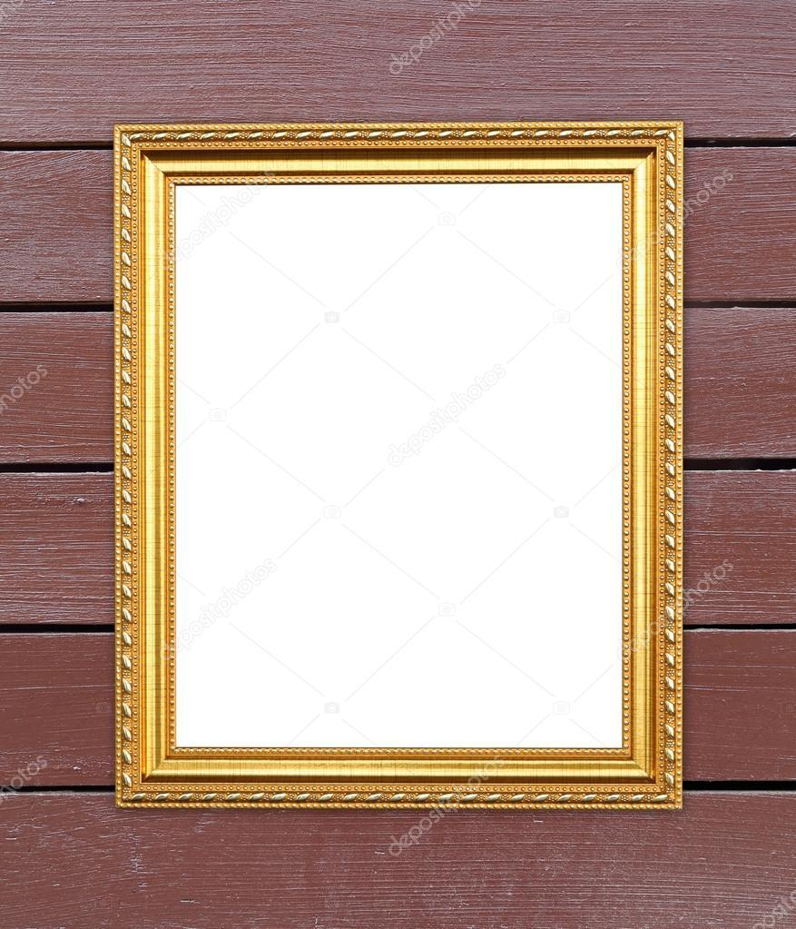 marco de oro blanco en madera de la pared — Fotos de Stock ...
