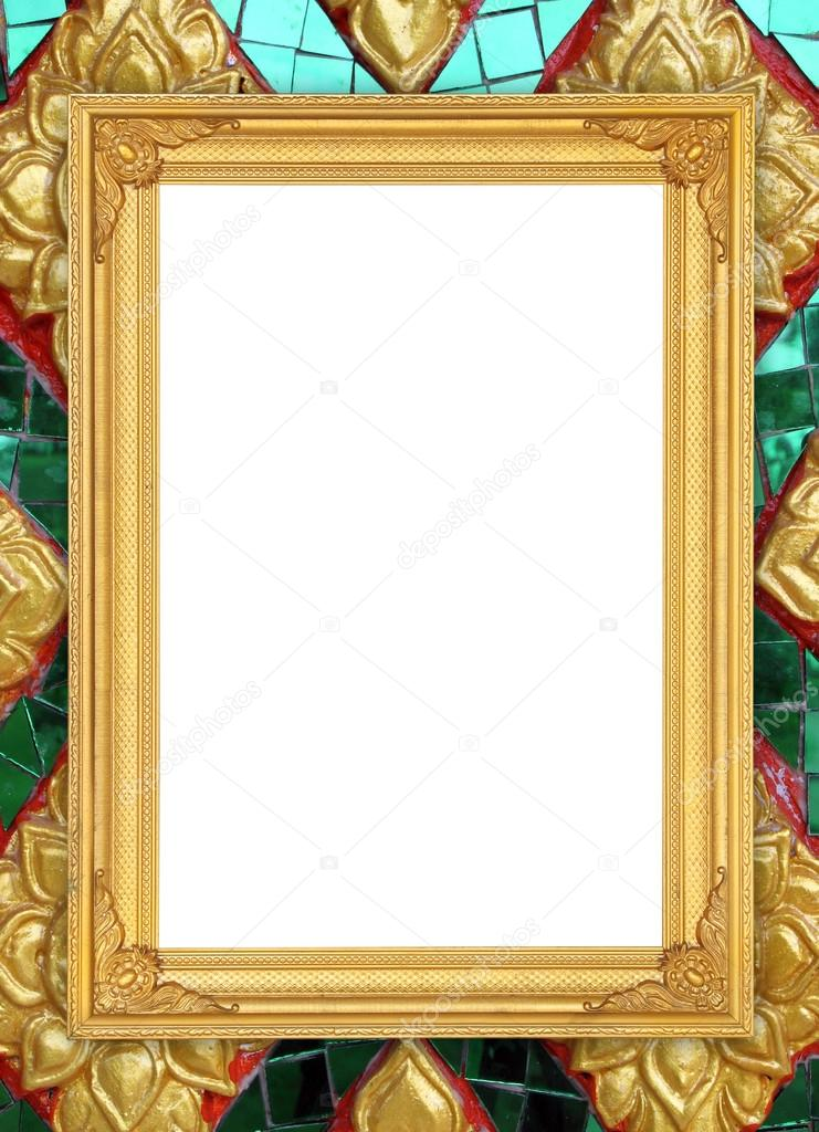 blank golden frame on Thai style buddha wall — Stock Photo ...