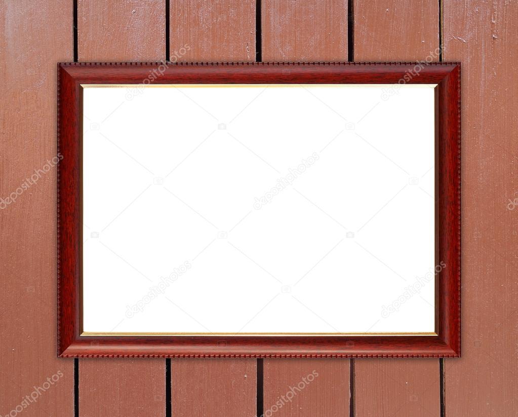 marco de madera en blanco sobre pared de madera — Foto de stock ...