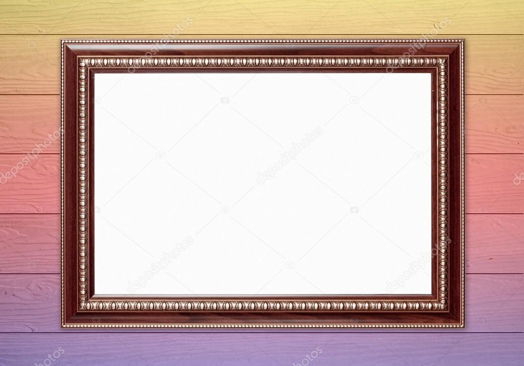 leere Holzrahmen auf bunte Wand-Hintergrund — Stockfoto © geargodz ...