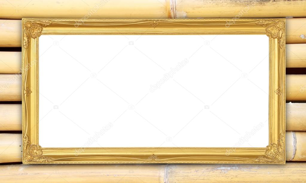 golden frame on bamboo wall background — Stock Photo © geargodz ...