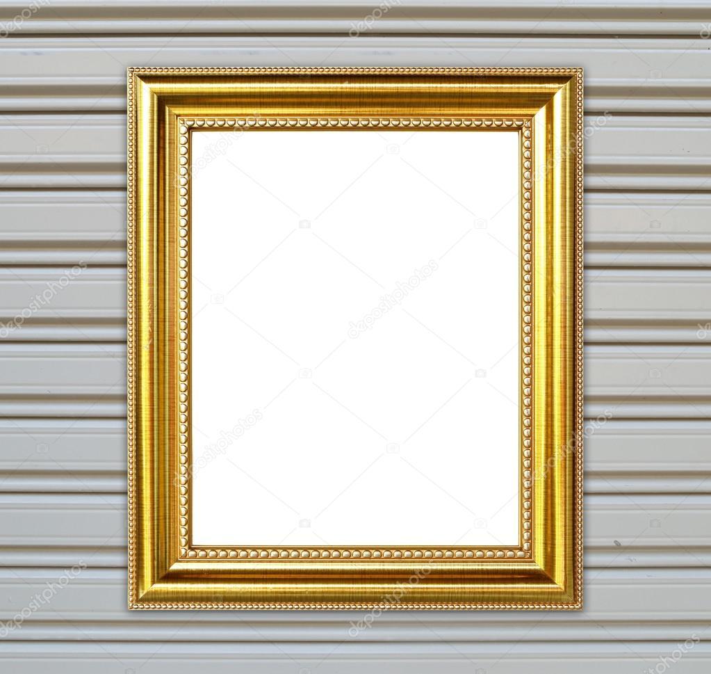 marco de oro sobre fondo de pared de metal — Foto de stock ...