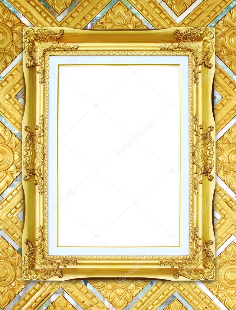 golden frame on Thai style buddha wall background — Stock Photo ...