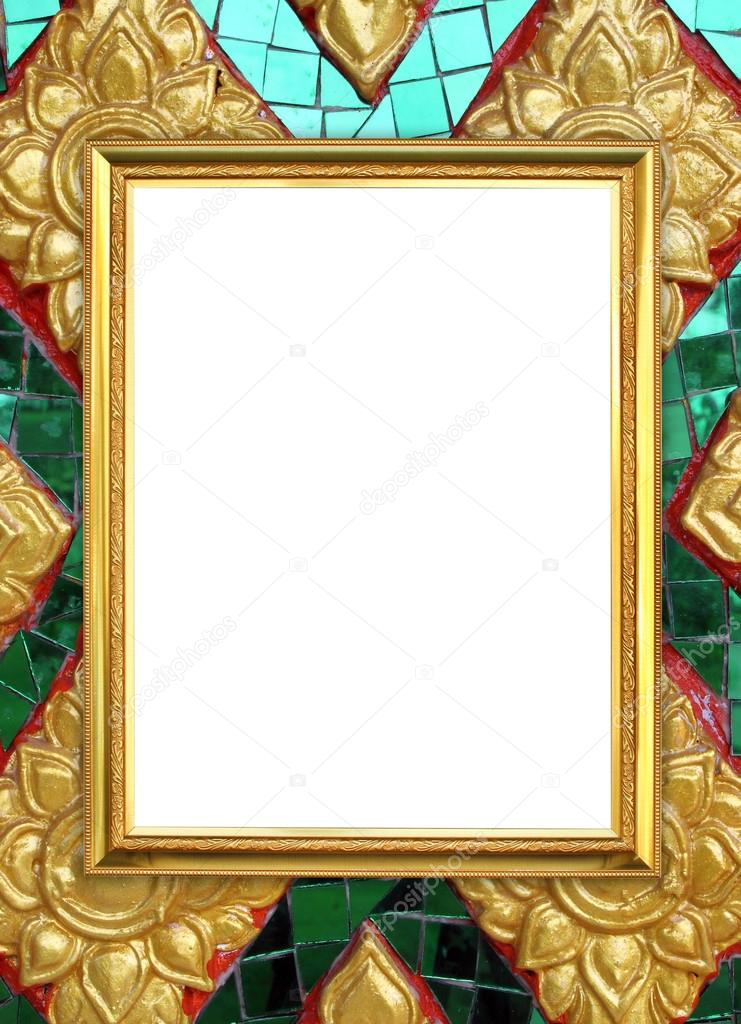 golden frame on Thai style buddha wall background — Stock Photo ...
