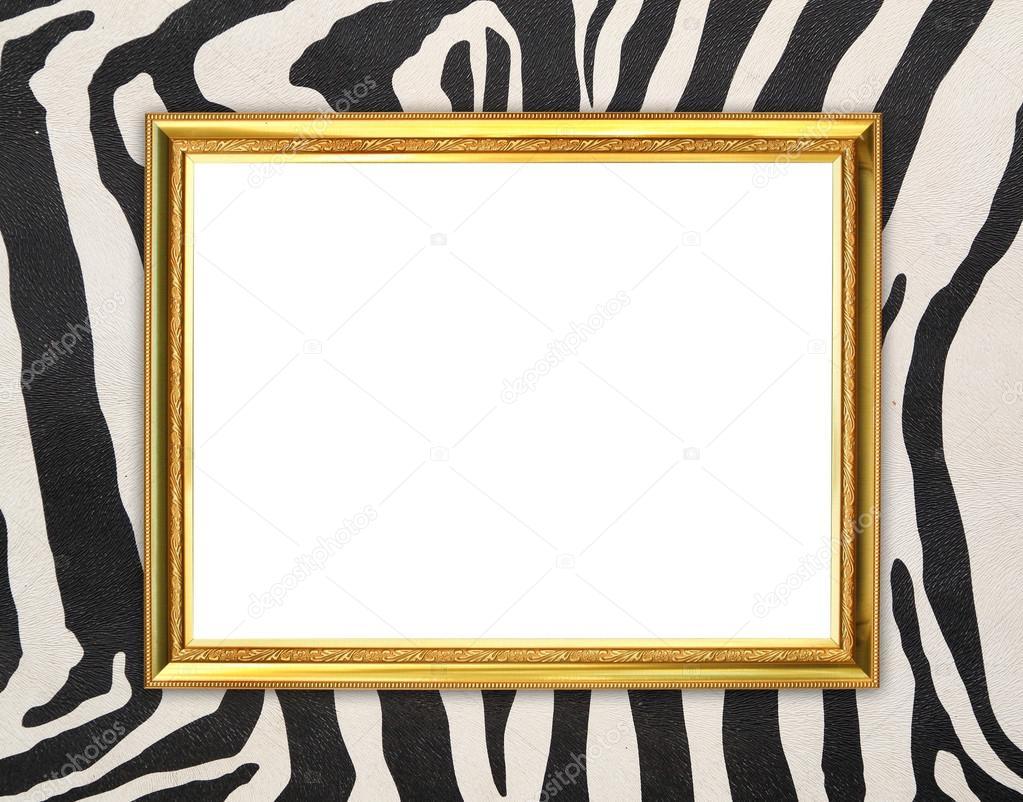 marco dorado con fondo de textura de cebra — Fotos de Stock ...