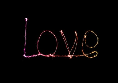Love sparkler firework light alphabet