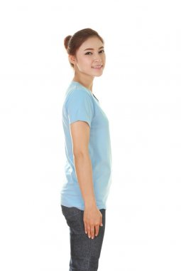 young beautiful female with t-shirt (side view)