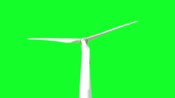 regelmäßig eine weiße Windturbine rotiert und der Wind erzeugt elektrische Energie aus Windkraft auf einem grünen Bildschirm Hintergrund, voll hd