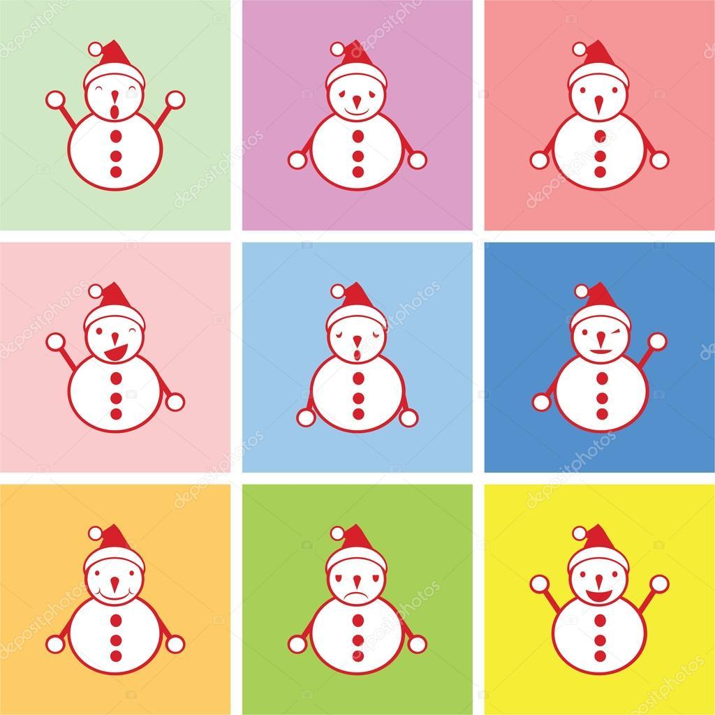 Bonhomme Graphique graphique de bonhomme de neige avec émotions heureuses, tristes et