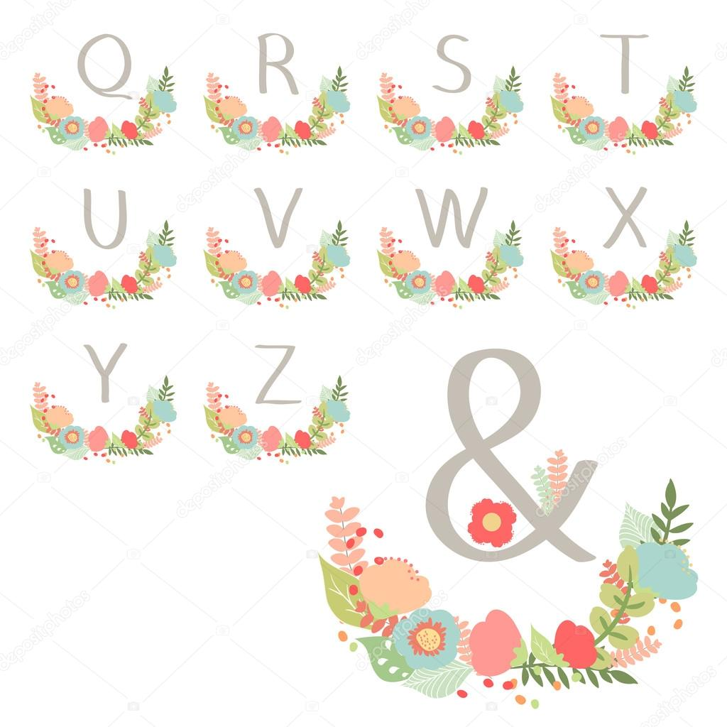 Hand drawn monogram wreath table card Q to Z.