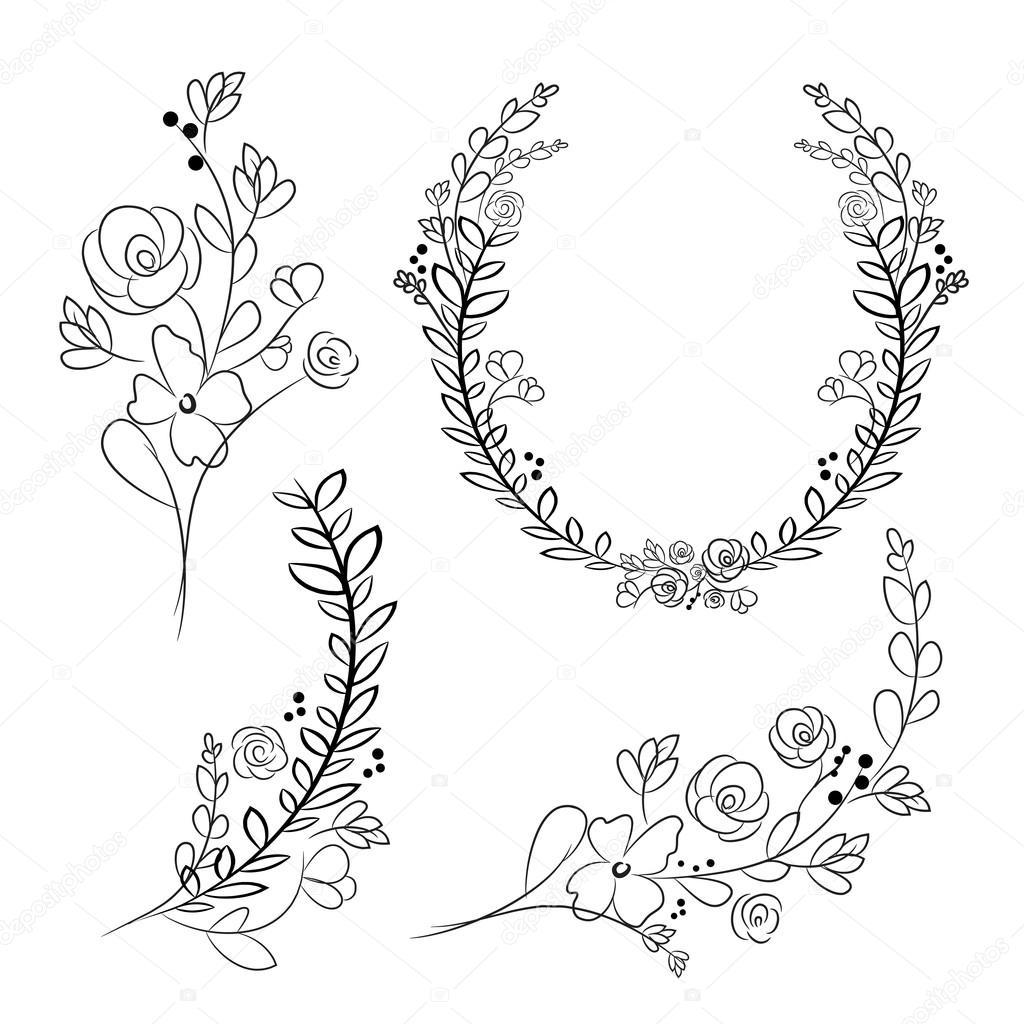 Vector wreaths and laurel wreaths. Round flower vector frames. H