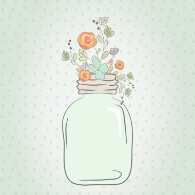 Cute bouquet of wedding flowers in a glass jar. Vector illustrat