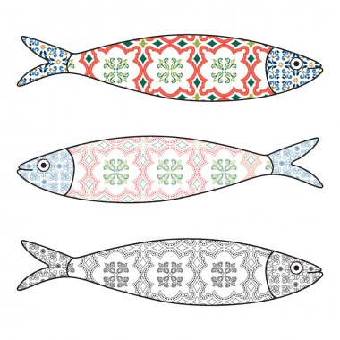 Traditional Portuguese icon. Colored sardines with typical Portu